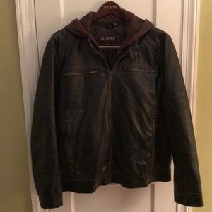 Men's Guess Distressed Faux Leather Bomber Sz XL